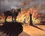 The beginning of the end: the Peristyle burns after the exposition closes.